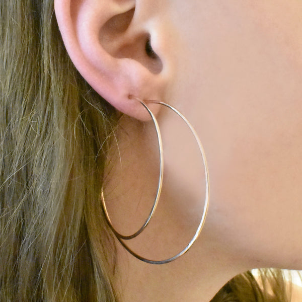 Large Hammered Rose Gold Hoops