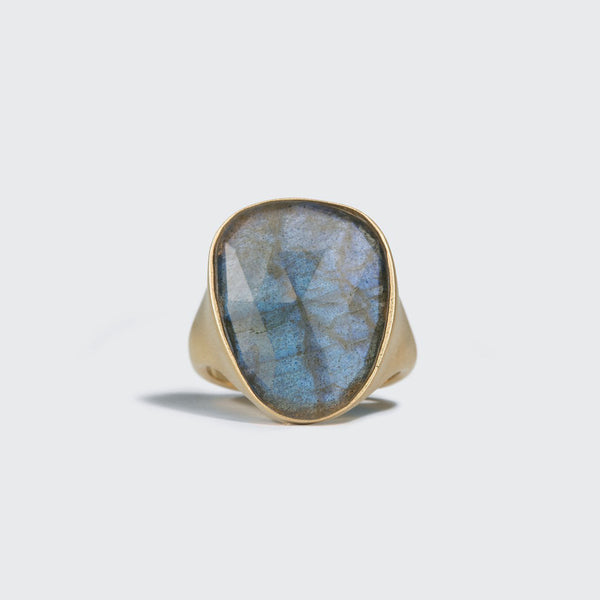 Elongated Labradorite Statement Ring