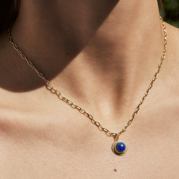 Lapis Burst Necklace on Wide Chain