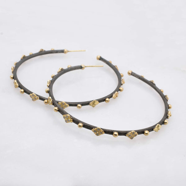 Large Black and Gold Crivelli Hoop Earrings