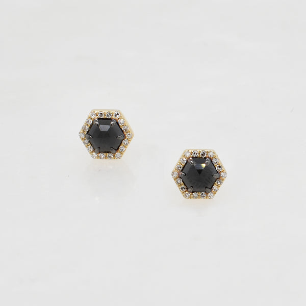 Small Black & White Diamond Hexagon Studs