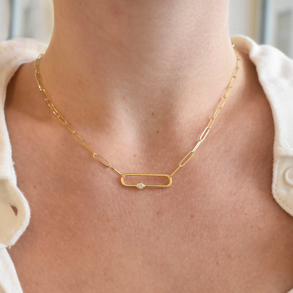 Paperclip Pendant Chain Necklace With Diamond Accent