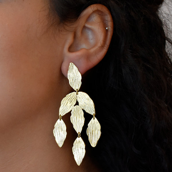 Cascading Leaf Dangle Earrings