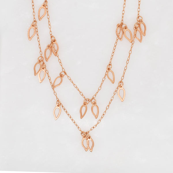 Rose Gold Layered Leaves Necklace