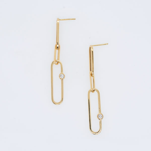 Paperclip Chain Earrings With Diamond Accents