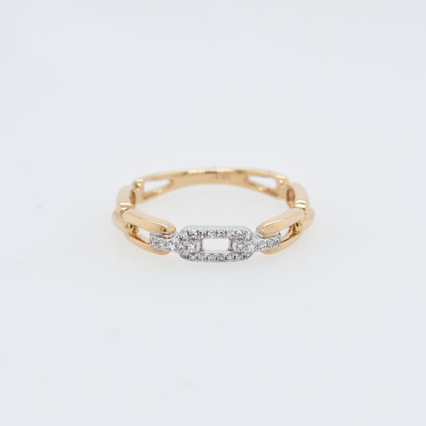 Diamond and Gold Link Chain Ring