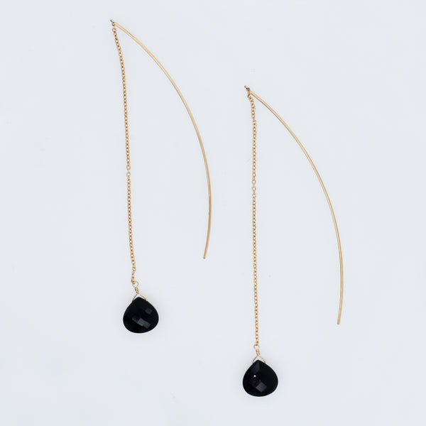 Long Black Onyx Briolette Threaders