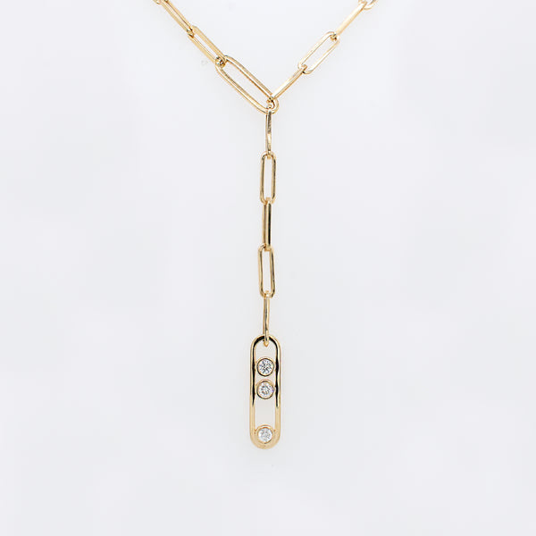 Paperclip Chain Lariat Necklace With Diamond Accents
