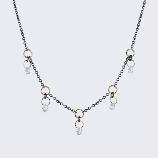 Scattered Diamond Briolette Necklace