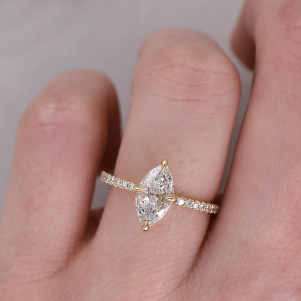 Lisette Marquise .74ct Diamond Engagement Ring with Accented Band
