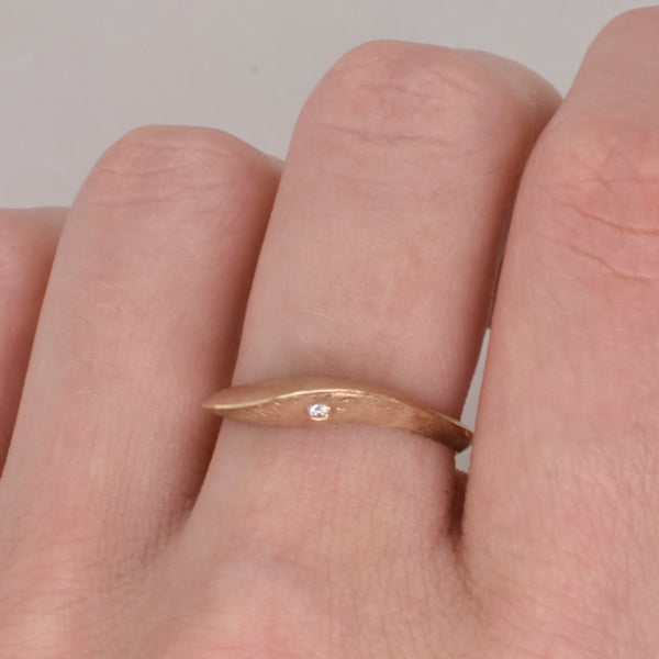 Tidal Ring with Diamond Accent
