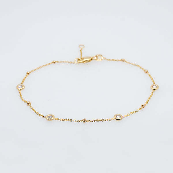 Diamond and Gold Station Bracelet
