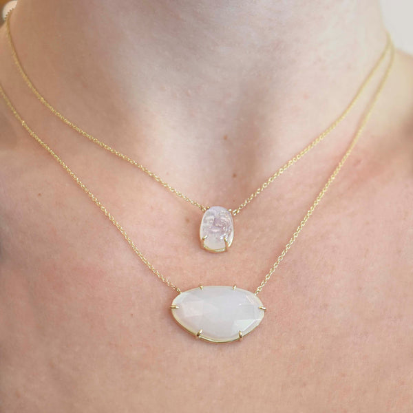 Horizontal Rose Cut Moonstone Necklace