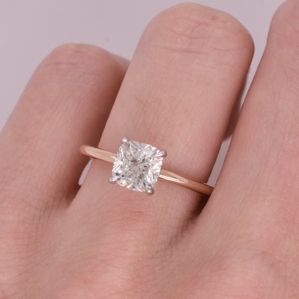 Emma Cushion 1.12ct Diamond Rose and White Gold Engagement Ring