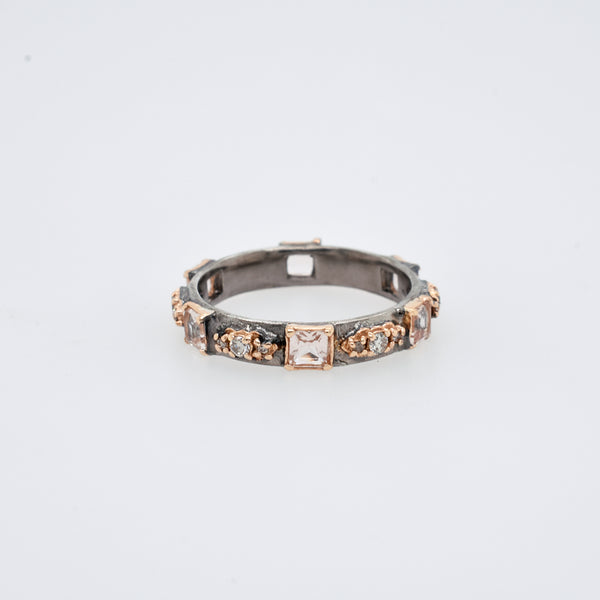 Morganite and Diamond Scroll Station Ring