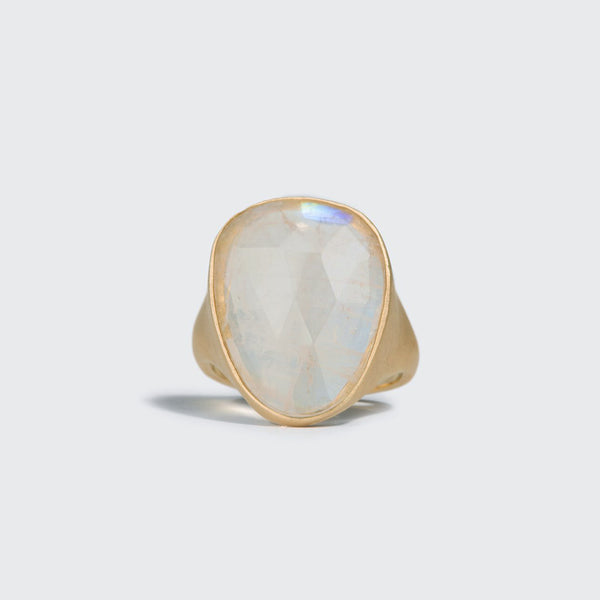 Elongated Rainbow Moonstone Statement Ring