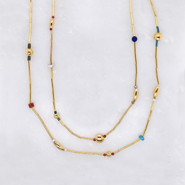 Gold and Gemstone Beaded Necklace
