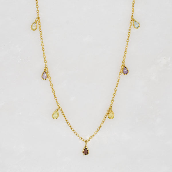 Cascading Gemstone Droplet Necklace