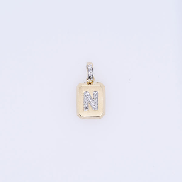 Rectangular Diamond Letter Charm