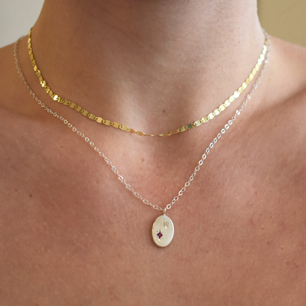 North Star Duo Gemstone and Diamond Necklace
