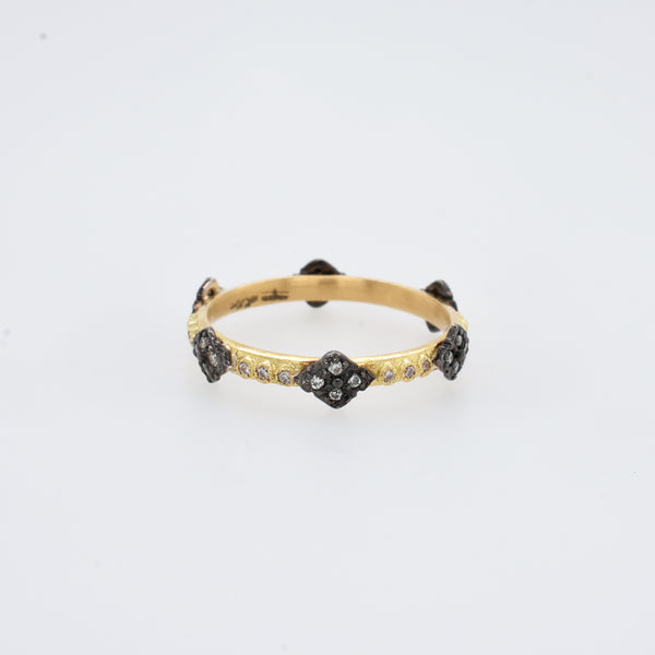 Clover Black and Gold Champagne Diamond Stack Ring