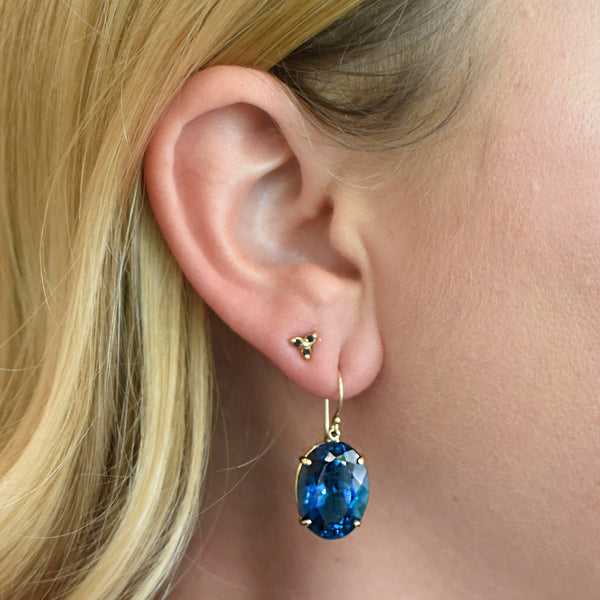Deep London Blue Topaz Earrings