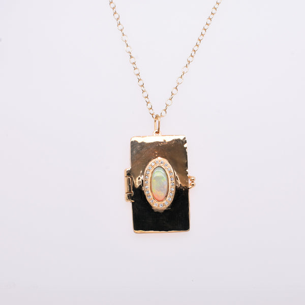 Opal & Diamond Cathedral Book Locket