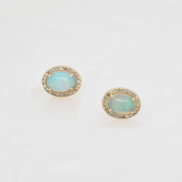 Opal & Diamond Halo Stud Earrings