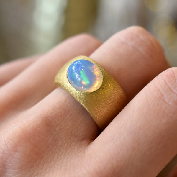 Opal Ocean Wide Gold Ring