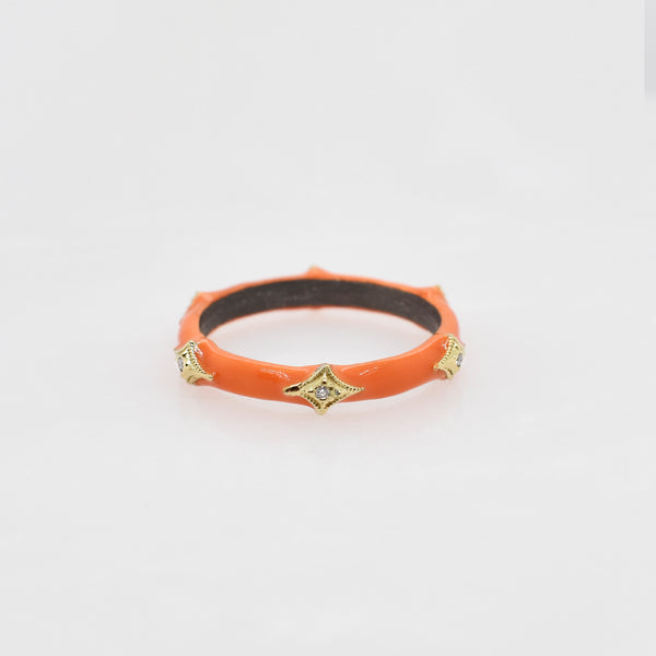 Orange Old World Enamel Crivelli Ring