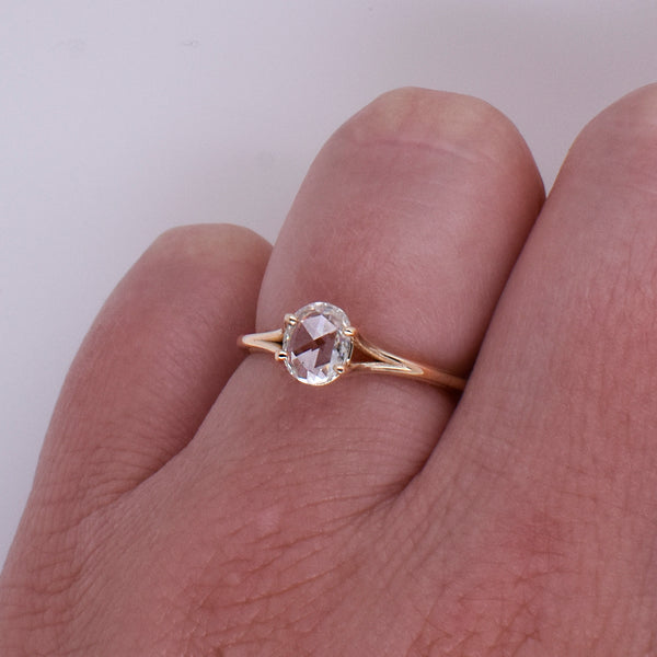 Merrill Engagement Ring Setting ft. Oval .55ct Rose-Cut Diamond