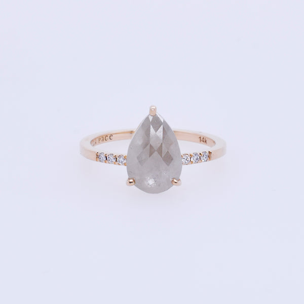 Opaque 1.4ct Rose-Cut Pear Diamond Engagement Ring