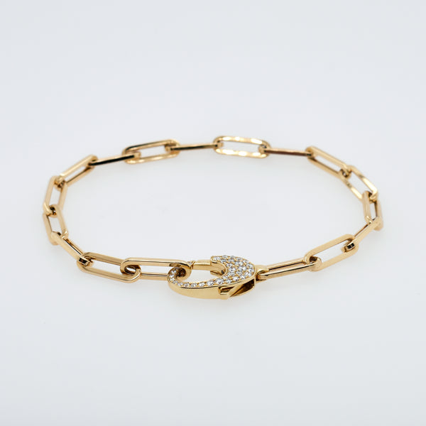 Diamond Clasped Paperclip Chain Bracelet
