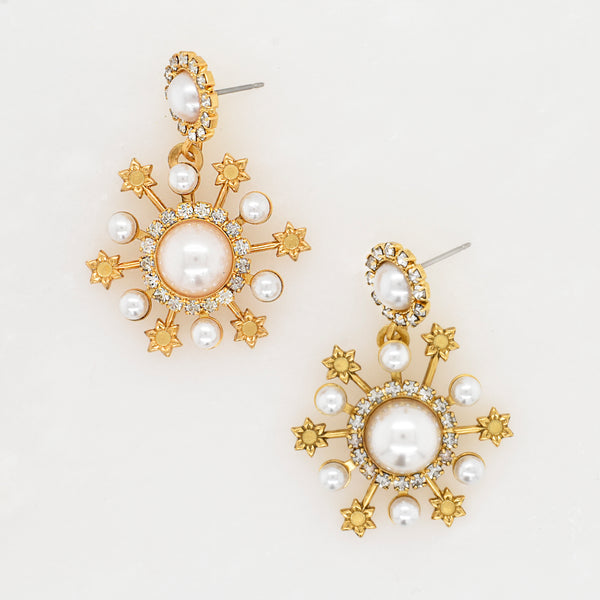 Gretal Crystal and Pearl Earrings