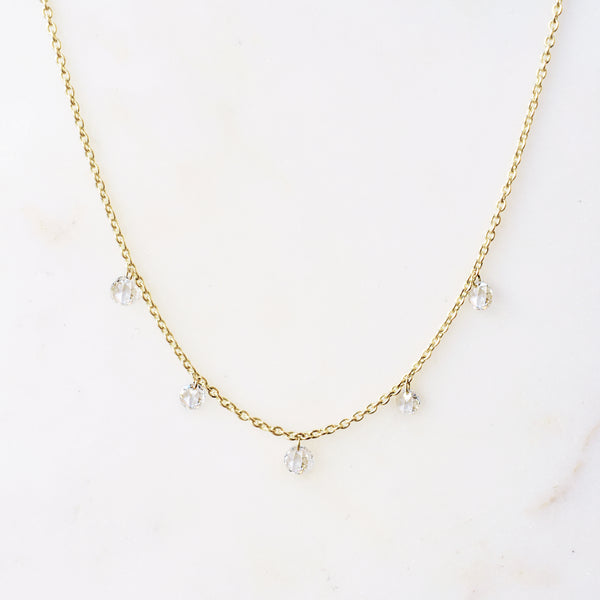 Phoebe Rose Cut Floating Diamond Necklace