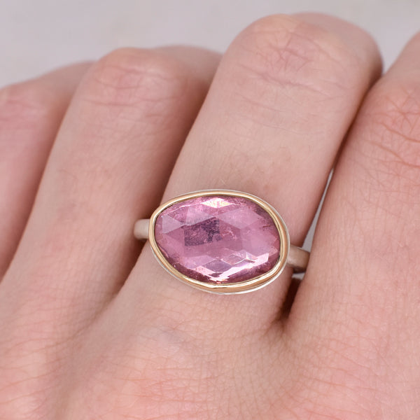 Rose Cut Asymmetrical Pink Tourmaline Ring