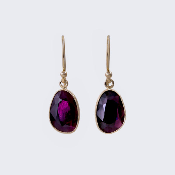 Purple Spinel Dangle Earrings