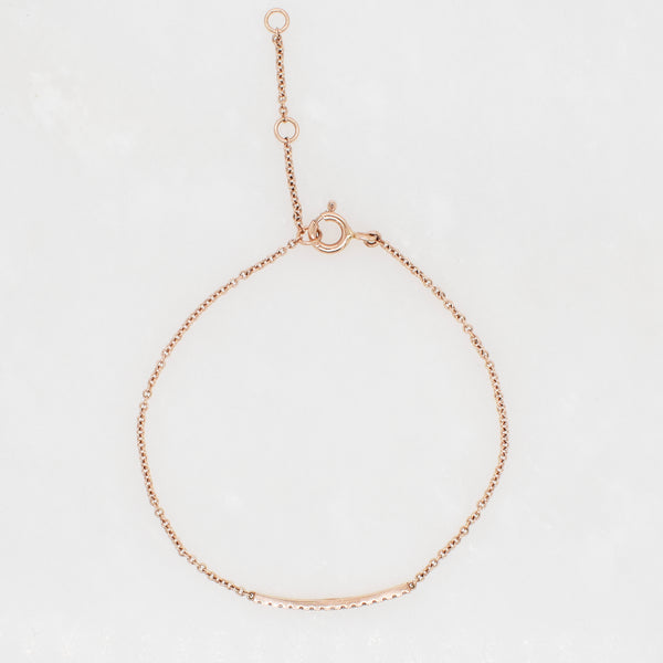 Petite Diamond Bar Bracelet in Rose Gold