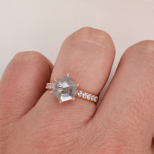 Brielle Hexagonal 1.41ct Salt & Pepper Diamond Engagement Ring
