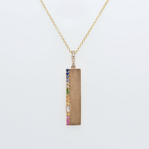 Rainbow Accent Bar Necklace