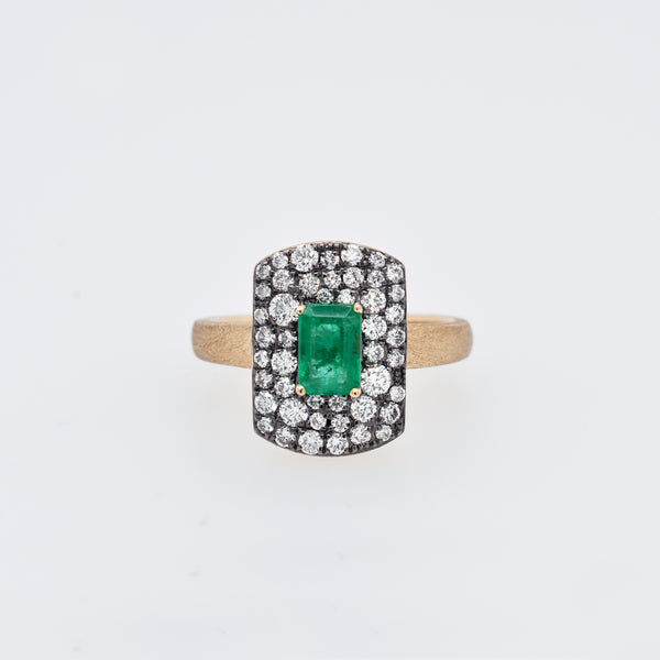 Scattered Diamond and Emerald Statement Ring