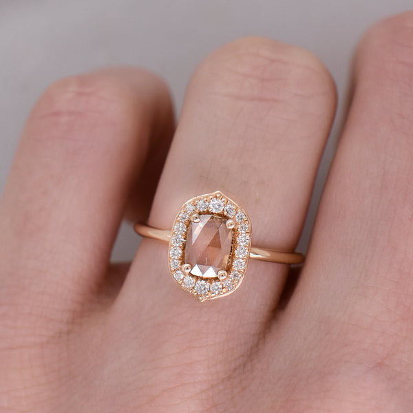 Alexandra Rose Cut Oval Champagne Diamond Halo Engagement Ring