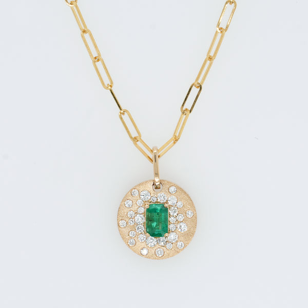 Galaxy Diamond and Emerald Disc Necklace