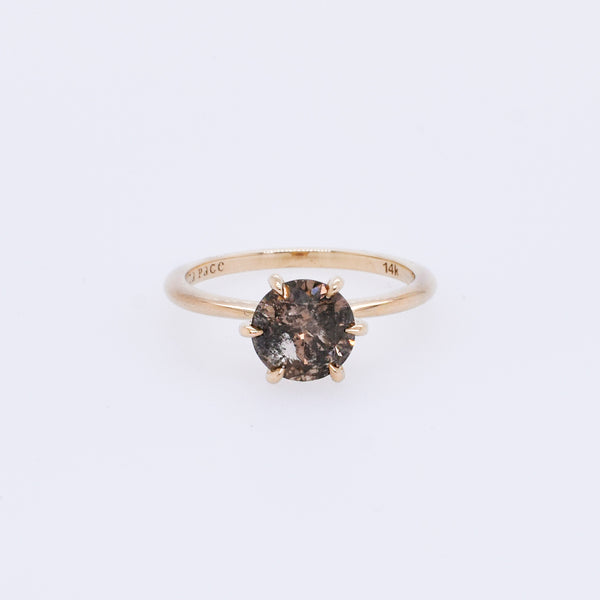 Egan Engagement Ring Setting ft. Dark Champagne 1.34ct Round Diamond