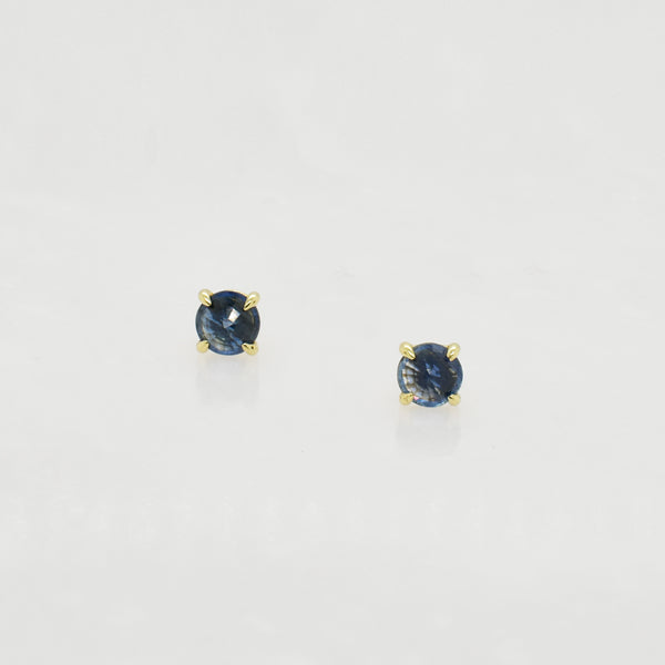 Clarence Round Blue Sapphire Studs