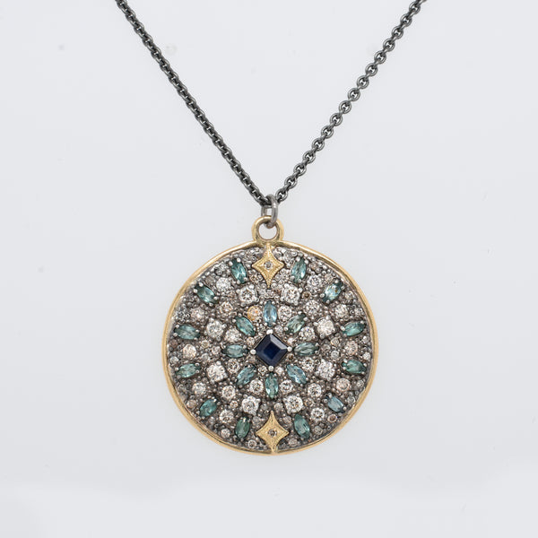 Old World Gemstone and Diamond Medallion Necklace