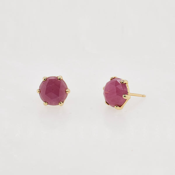 Round Rose Cut Ruby Studs