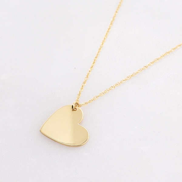 Engravable Heart Charm Necklace