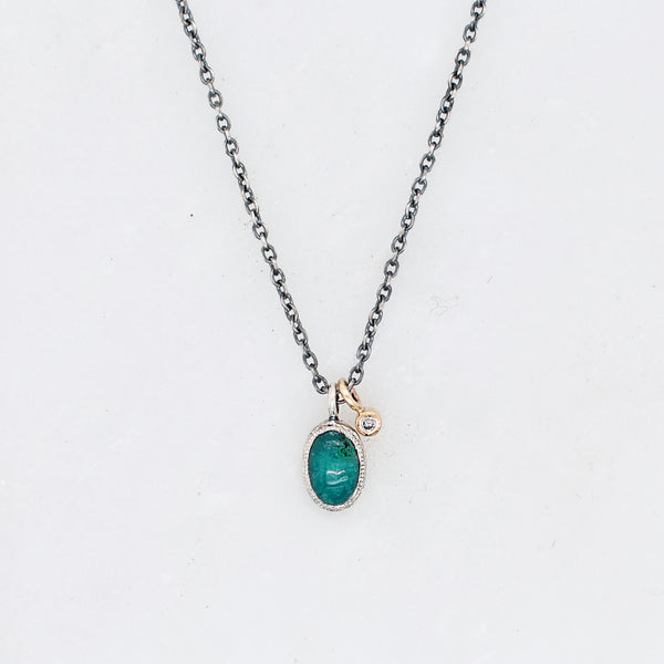 Diamond Chrysocolla Drop Necklace