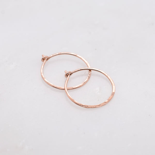 Small Hammered Rose Gold Hoops